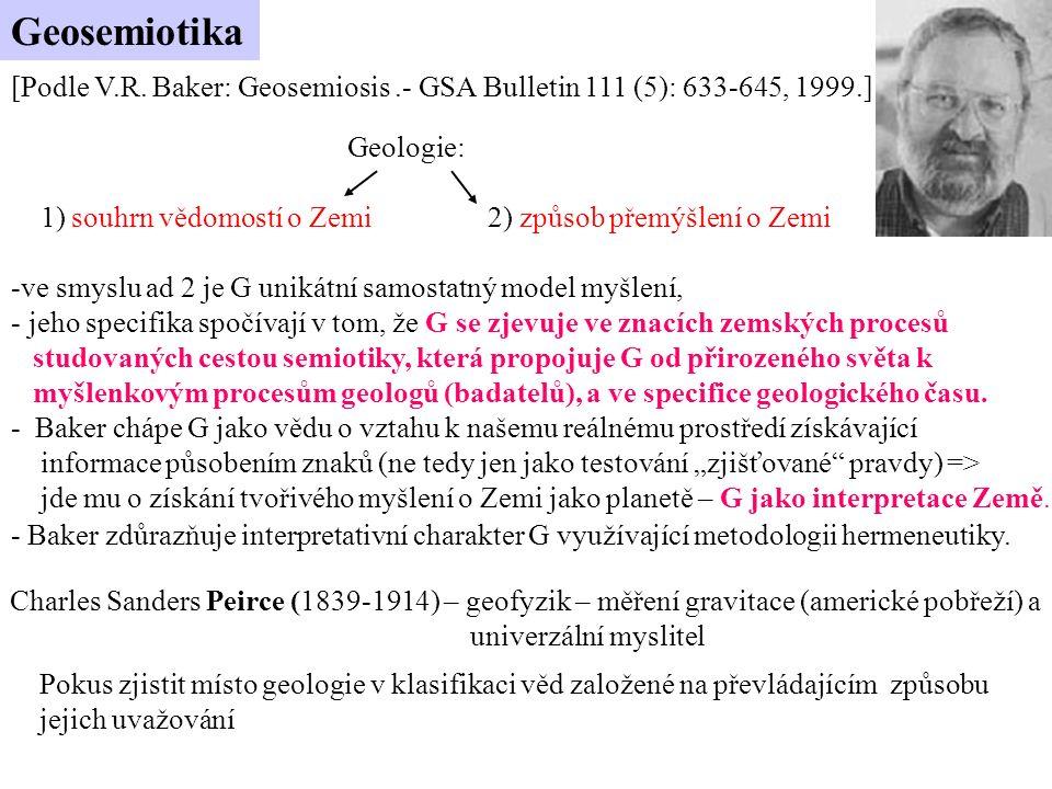 Geosemiotika [Podle V.R. Baker: Geosemiosis .- GSA Bulletin 111 (5): 633-645, 1999.] Geologie: